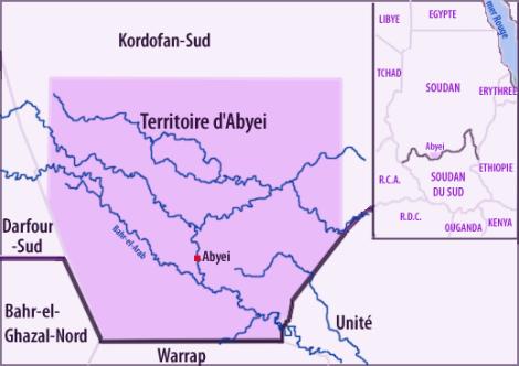 Situation du territoire d'Abyei à la frontière entre le Soudan et le Soudan du Sud