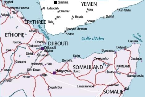 Carte du Golfe d'Aden et du Bab-el-Mandeb