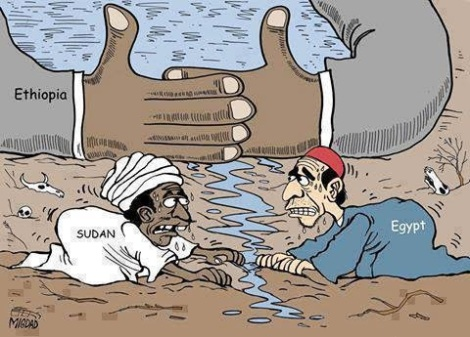Dessin de Migdad, dans Arab News, à propos de la construction d'un barrage éthiopien sur le Nil qui enrage l'Egypte