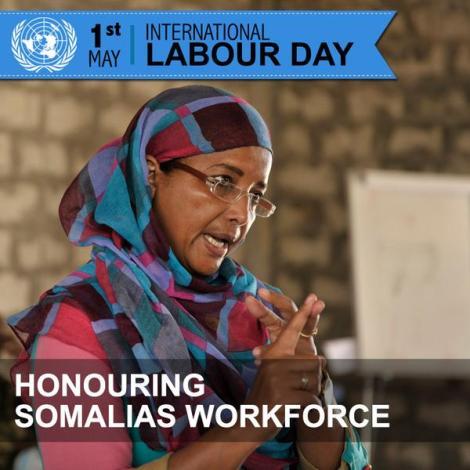 Affiche pour le 1er mai 2015, fête du Travail. UNSOM.