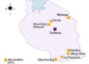 carte des gisements uranifères de Tanzanie.