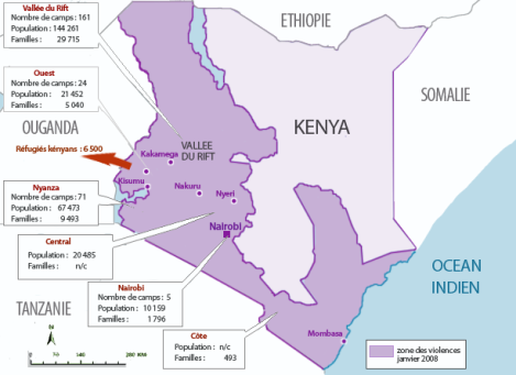 carte des camps de déplaces en janvier 2008 au Kenya.