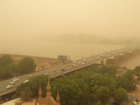 Khartoum en pleine haboob (tempête de poussières et de sable).