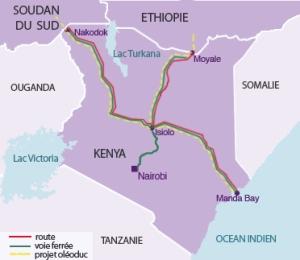 Carte du projet des infrastructures de transport Lapsset