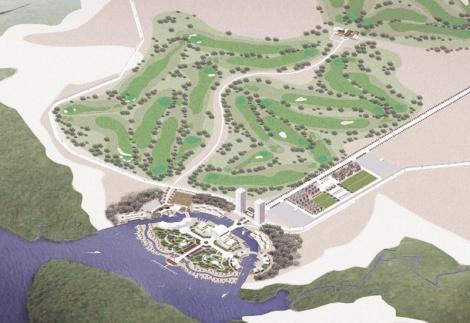 Le projet d'aménagement du port, à Manda Bay, Kenya.