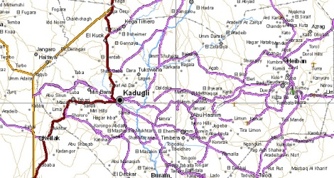 Kadugli, la capitale du Sud-Kordofan, sur une carte routière.