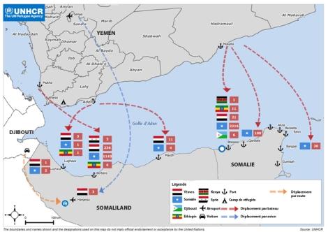 Carte établie par le Haut-Commissariat des Nations unies pour les réfugiés (traduite en français).