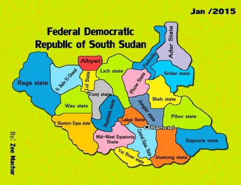 Les 21 Etats proposés par le SPLM-IO
