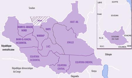 Soudan du Sud - les 10 Etats