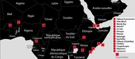 """Les bases de drones américaines en Afrique, selon le journaliste Nick Turse. Sources d'information : ISR Studies, The Washington Post, The New York Times, Foreign Policy. Nairobi* est notée comme une base """"inconnue""""."""