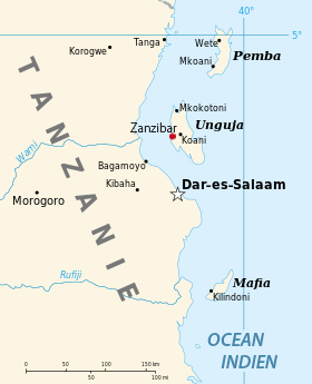 La carte situant Zanzibar et Pemba