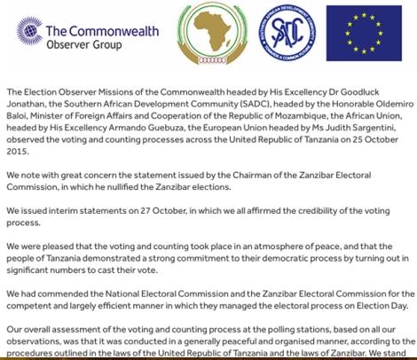 Les observateurs du Commonwealth s'inquiètent de la décision de la Commission électorale de Zanzibar (ZEC) d'annuler les élections.