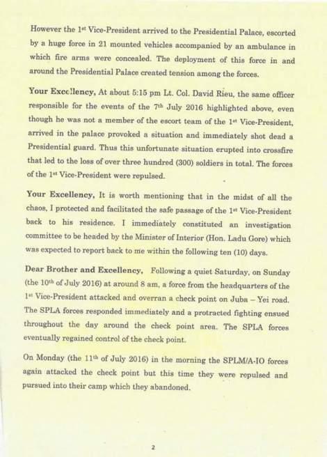 Lettre du président du Soudan du Sud, Salva Kiir, à Hailemariam Desalegh, président de l'IGAD