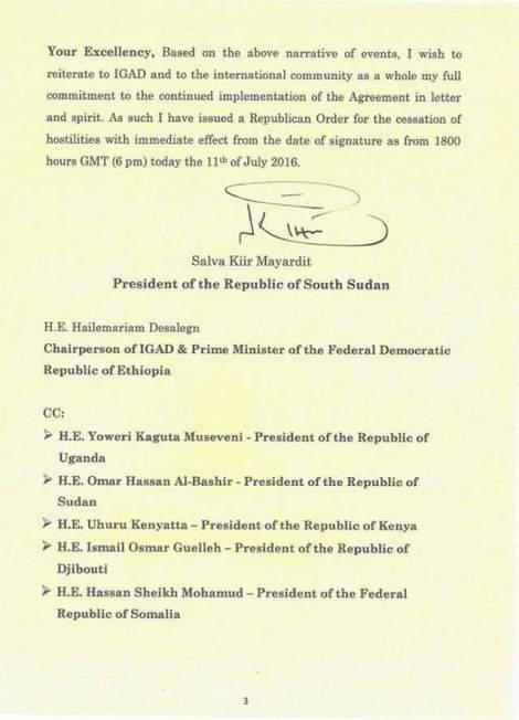 Courrier du président sud-soudanais Salva Kiir Mayardit adressé au président de l'Autorité intergouvernementale pour le développement.
