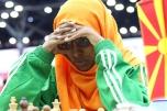 La joueuse soudanaise, Eyhab Rawan, aux 42èmes Olympiades d'échecs à Bakou, Azerbaïdjan. © Eteri Kublashivili.