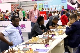 Ronde d'échecs Nigeria-Russie. 42èmes Olympiades, Bakou, Azerbaïdjan.