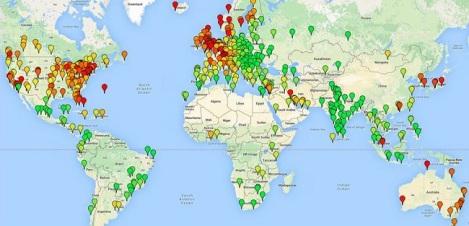 Carte des principales villes couvertes par la collecte des données Numbeo