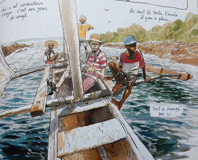 Extrait des pages de Kililana song. La balade en boutre entre les îles de l'archipel de Lamu. © Benjamin Flao
