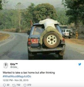 """""""Je voulais prendre un taxi pour rentrer chez moi et après m'être demandé ce que ferait Magufuli"""" à ma place..."""