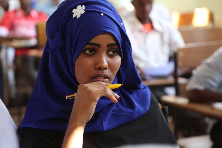 Une étudiante de l'université Hiran, à Belet Huen, centre-ouest de la Somalie.