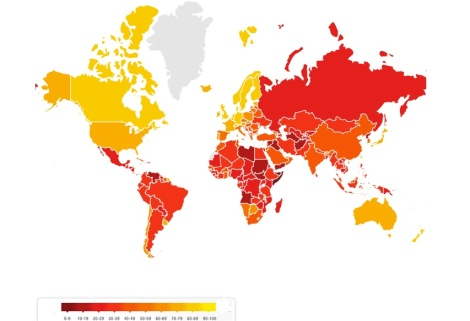 Du rouge sombre au jaune : les pays les plus corrompus aux moins corrompus (2017). Source: Transparency International.