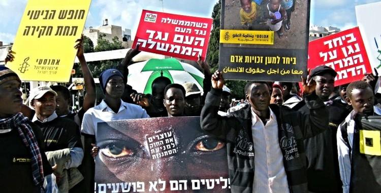 Manifestation des réfugiés et demandeurs d'asile à Tel Aviv